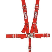 Pro Series 5-Point Harness - Ind. Shoulder, Pull down, L&L, Red