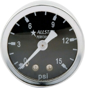 FUEL PRESSURE GAUGE - 0-15 PSI LIQUID FILLED