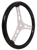 "LIGHTWEIGHT 13 INCH STEERING WHEEL - 2.5"" DISH, RUBBER GRIP"