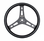 LIGHTWEIGHT 15 INCH STEERING WHEEL - BLACK, FLAT